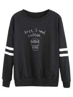 Sudadera con estampado taza de café - negro