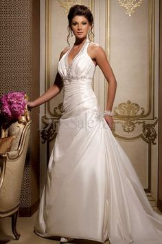 Classic Empire Ivory Wedding Gown with Chic Halter Neckline and Sequin Detail- dresssale.com