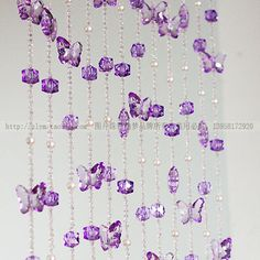 Customizable Bead curtain crystal handmake decoration  finished product curtain purple butterfly paragraph