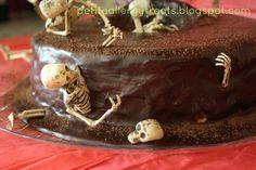 """Death By Chocolate"" Skeleton Surprise Cake #decorating #halloween #recipe #rice_krispie"