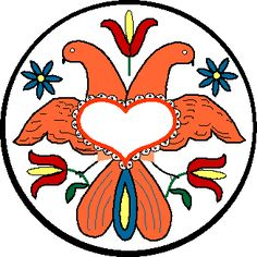 Pennsylvania Dutch Hex Sign - Double Headed Eagle - The double eagle in this sign stands for strength and courage. The heart is laced for love in marriage and the three tulips, known as the Trinity Tulips symbolize faith, hope and charity.