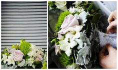 White lace - accents of white, green, antique pink. Flowers included roses, freesia, dusty miller, babys breath, winter greenery. #Sydney