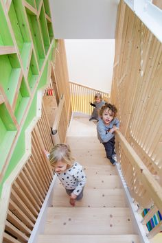 "Bath house by Lipton Plant/ ""The concept for the tree, which envelopes the stair and with its many levels and dens on route to the top, was inspired by the tree house in Swiss Family Robinson Kids Cubby Houses, Kids Cubbies, School Cafe, House Slide, Japan Interior, Kindergarten Design, Kids Daycare, Stairs Architecture, Indoor Playground"