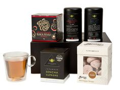 Rregent Teatime Hamper A perfect afternoon tea gift selection. Includes carefully selected teas, chocolates, meringues and a double-walled glass. This would make an ideal gift for friends, family or work colleagues. Tea Gift Sets, Tea Gifts, Friends Family, Gifts For Friends, Work Colleague, Black Gift Boxes, Meringue, Hamper, Teas