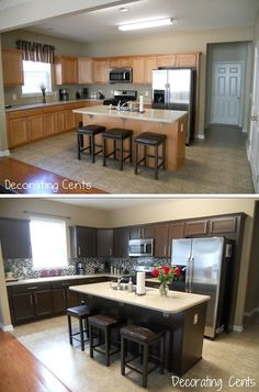 Great idea! Andrea of Decorating Cents used a Rustoleum Cabinet Transformation Kit to update her kitchen cabinets!