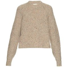 Isabel Marant Étoile Happy ribbed-knit sweater ($370) ❤ liked on Polyvore featuring tops, sweaters, beige multi, layered tops, colorful sweaters, cut loose tops, beige top and brown sweater