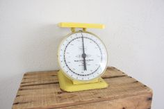 Vintage Scale // 1960s Industrial Scale // Bold Yellow Postage Scale // Chic Kitchen Scale
