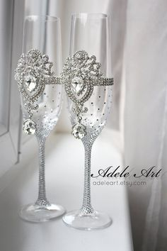 pair of traditional crystal champagne flutes beautiful tall and with crystal clear crystals - Crystal Champagne Flutes