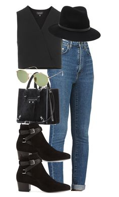"""""""Untitled #3507"""" by wallenbergnikki ❤ liked on Polyvore featuring Yves Saint Laurent, Topshop, Balenciaga, rag & bone and Ray-Ban"""