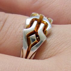 (GOLDEN MAZE) Unique Puzzle Rings by PuzzleRingMaker - 925 Silver - Any Size