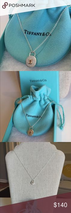 """Authentic Tiffany & Co. locker necklace (NIB) 100% Authentic Tiffany & Co. delicate Sterling Silver  locket necklace new in box with gift receipt! This round Silver pocket has beautiful gold detailing as well with a gold key hole on the locket. The front is stamped with the T & Co. authentic stamp, and its clean as can be. Comes with necklace pouch, box, and gift receipt. The chain is 16"""" long - perfect length as an everyday delicate to wear solo or layered. Reasonable offers welcome :)…"""