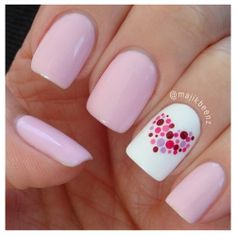 Simple Pink Nail Design With Heart