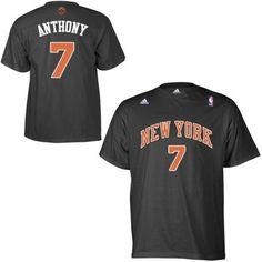 free shipping 5efa5 e7175 Mens New York Knicks Carmelo Anthony adidas Black Net Number T-Shirt Nba  Shirts,
