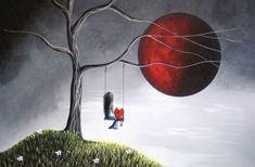 Fine Art Prints - Wall Art - Red Moon - Girl On Tree Swing - Surrealism Art - Dreamy Landscape - Full Moon - Art For Bedroom - Red Moon Art Fantaisiste, Wall Art Prints, Fine Art Prints, Fairy Art, Moon Art, Whimsical Art, Surreal Art, Oeuvre D'art, Fine Art America