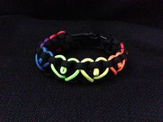 Rainbow Hearts Paracord Bracelet custom by 4PawsSpiritBracelets, $7.00. Made with smaller cord for hearts