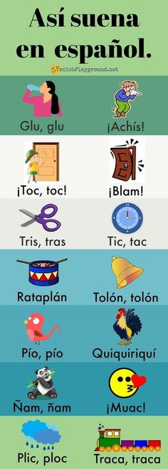 Spanish onomatopoeia are a fun way to teach vocabulary and culture to kids. Spanish onomatopoeia are a fun way to practice vocabulary with kids. Infographic with sounds common objects, actions and animals make in Spanish. Spanish Grammar, Spanish Vocabulary, Spanish Words, Spanish Language Learning, Spanish Teacher, Spanish Classroom, How To Speak Spanish, Learn Spanish, Spanish Sayings