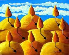 GOLDEN LANDSCAPE TREES Blue Skies Folk Art Painting Original