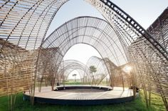 Forest Pavilion by nArchitects, the bamboo structure provides a shaded meeting and performance space for visitors to the Da Nong Da Fu Forest and Eco-park in Hualien province, Taiwan (via ArchDaily)