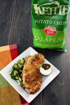 Jalapeno Kettle Chip Crusted Chicken with Jalapeno Ranch dip .