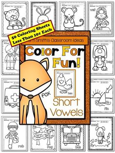 Short Vowel Fun! Color For Fun Short Vowel Printable Coloring Pages! This Color For Fun is Perfect for Any Short Vowel Unit! #Free Short Vowel Coloring Page in the Preview Download for You To Try During Your Short Vowel Lessons Before You Buy. {50 colorin