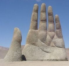The Mano de Desierto is a large-scale sculpture of a hand located in the Atacama Desert in Chile, 75 km to the south of the city of Antofagasta, on the Panamerican Highway.
