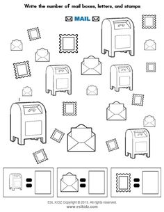 Mailbox, stamp, and letter counting activity English Worksheets For Kids, Preschool Worksheets, Preschool Activities, Community Helpers Preschool, Counting Activities, English Vocabulary Words, Lego Duplo, Activity Centers, Post Office