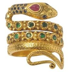 sapphire emerald diamond gold Snake Ring
