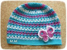 tyrkysová | Mimibazar.cz Crochet Kids Hats, Crochet Beanie Hat, Crochet Cap, Crochet Gloves, Crochet Crafts, Crochet Projects, Knitted Hats, Cross Stitch Patterns, Baby Outfits