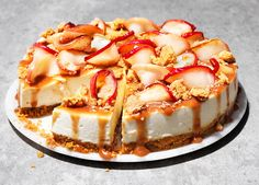 Creamy cheesecake, topped with toffee apples and a sprinkle of crisp apple crumble – this is the ultimate autumnal apple recipe Apple Cheesecake, Cheesecake Recipes, Fall Desserts, Christmas Desserts, Christmas Dishes, Delicious Desserts, Apple Recipes, Sweet Recipes, Pancake Recipes