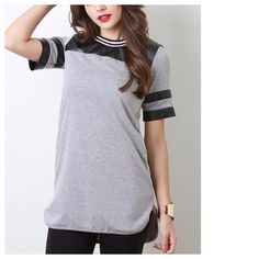 "Grey Baseball Jersey + Faux Leather Trims An edgy take on the Baseball Jersey Tee. 100% Cotton. Fits Busts 32""-34"", Hips 36"". Measures around 34"" in length.                                                                                                                                                                           Instagram: @phinayi Blog: theworldaccordingtoeve Tops"
