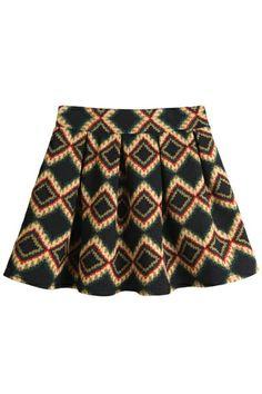 Retro Geo A-line Skirt OASAP.com