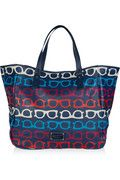 What A Spectacle leather-trimmed beach tote