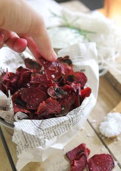 Rosemary Sea Salt and Vinegar Beet Chips - beets, rice vinegar, rosemary sprigs, olive oil (optional, for pan frying, but you can also bake them), sea salt, dip (plain yogurt, roasted garlic, fresh rosemary)