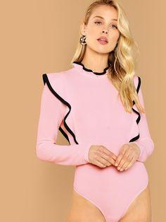 11ed628c01059 Letter Print High Cut Bodysuit in 2019