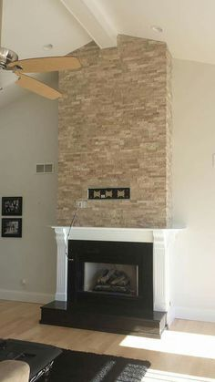 Fireplace With Granite Raised Hearth Forshaws Of St Louis And Patio Stacked Stone