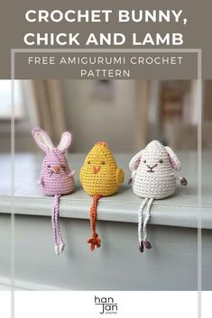 These cute little amigurumi crochet animals are just the right kind of shelf buddy you want hanging around. Using the same crochet pattern for the body made in the continuous amigurumi method, they come to life with the details you add for the dangly legs, arms, wings and ears! Perfect for a little Easter home decoration or as a super cute gift too. This crochet bunny, chick and lamb are yours to customise and make your very own. #amigurumicrochet #crochetanimals #bunnycrochetpattern Kawaii Crochet, Crochet Bunny, Crochet Home, Crochet Gifts, Crochet Animals, Free Crochet, Crochet Flowers, Easy Beginner Crochet Patterns, Easy Crochet Stitches