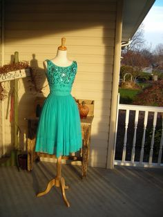50's georgous torquoise chiffon cocktail dress, prom dress with sequin trimed bodice. $89.00, via Etsy.
