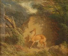 <b>WILLIAM HOLBROOK BEARD</b> <br  /> (American, 1824-1900) <br  /> <b>FAWN IN LANDSCAPE</b> <br  /> oil on paper; <br  /> signed <i>W. H. Beard</i>, l.l.;  <br  /> 7 1/2 x 9 1/2 inches