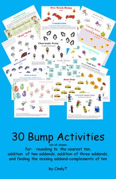 $4.00  30 Math Bump activities!  Use for helping to learn/reinforce CCSS 2.OA.1 and 2.OA.2.  Games include:  addition of 2 addends, addition of 3 addends, rounding to the nearest 10 and find the missing addend-complements of 10.