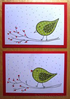 Christmas cards bird by Janelostinideas 2014