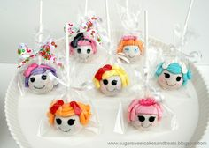 Lalaloopsy Cake Pops By AngelFood4 Made 20 of these along with a Lalaloopsy themed cake. So much work but they turned out sew cute.