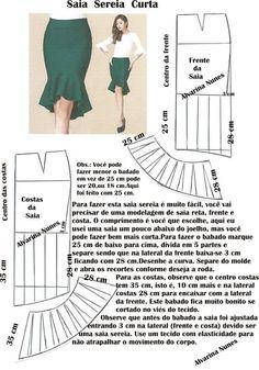 Sewing Skirts Costura e Modelagem Skirt Patterns Sewing, Clothing Patterns, Coat Patterns, Blouse Patterns, Fashion Sewing, Diy Fashion, Moda Fashion, Sewing Clothes, Diy Clothes