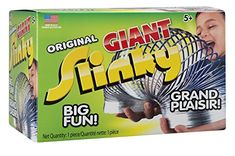 The Original Slinky Brand Giant Metal Slinky - Larger version of the original metal Slinky Stretches farther, flips higher and walks down taller steps Made in the USA with over 300 million sold worldwide