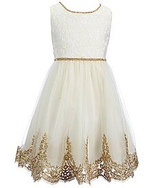 f82c21071 Chantilly Place Big Girls 7-16 Beaded Waist Lace Social A-Line Dress |  Dillards