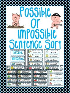 I love having kids sort things; they discover examples and nonexamples. Not only do they work somewhat kinesthetically, they have to read the sentences (visual) and they usually read them out loud (audial). Primary Teaching, Teaching Math, Math Stations, Math Centers, Math Classroom, Kindergarten Math, Math Resources, Math Activities, Probability Games