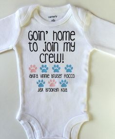 Goin' Home To Join My Crew Baby Onesie/ by DivineLittles i have to have on e for Jenna to meet Rocko Chopper Lilly and Kevin! Baby Shirts, Baby Onesie, Onesies, Cute Baby Announcements, Baby Girl Names, Everything Baby, Our Baby, Baby Baby, Baby Time