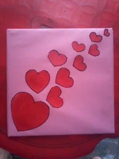 Hand Made Valentine Card For My Sweet Heart....With The Help Of Some heart Shape paper Cutting, stencils, febric Colour & Card Board.. Cut Some Heart Shape Pape…