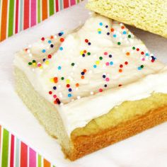 Very cool idea, less mess and stress!Sugar Cookie Bars with the BEST frosting EVER.
