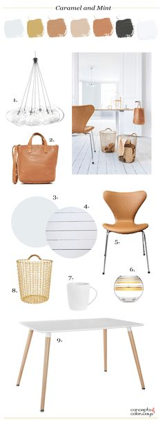 caramel and mint interior design mood board, interior styling ideas, interior design inspiration, Pantone Butterum