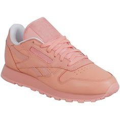 Reebok Women's x FACE Stockholm Classic Leather Spirit Athletic... ($75) ❤ liked on Polyvore featuring shoes, sneakers, pink, leather trainers, leather shoes, genuine leather shoes, leather footwear and pink leather shoes
